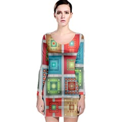 Tiles Pattern Background Colorful Long Sleeve Bodycon Dress