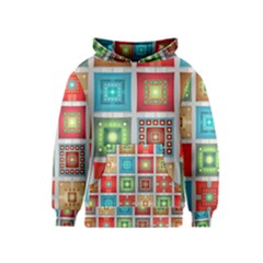 Tiles Pattern Background Colorful Kids  Pullover Hoodie