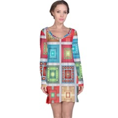 Tiles Pattern Background Colorful Long Sleeve Nightdress