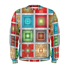 Tiles Pattern Background Colorful Men s Sweatshirt