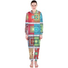 Tiles Pattern Background Colorful Hooded Jumpsuit (ladies)