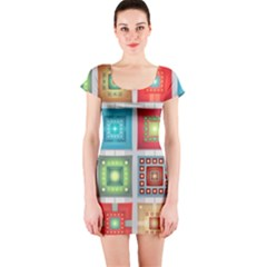 Tiles Pattern Background Colorful Short Sleeve Bodycon Dress