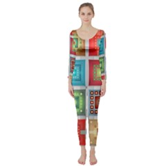 Tiles Pattern Background Colorful Long Sleeve Catsuit