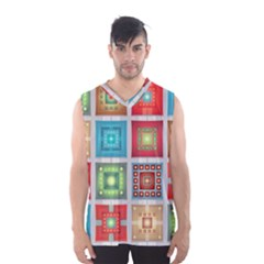 Tiles Pattern Background Colorful Men s Basketball Tank Top