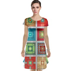 Tiles Pattern Background Colorful Cap Sleeve Nightdress