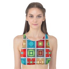 Tiles Pattern Background Colorful Tank Bikini Top