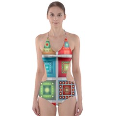Tiles Pattern Background Colorful Cut Out One Piece Swimsuit