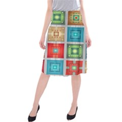 Tiles Pattern Background Colorful Midi Beach Skirt