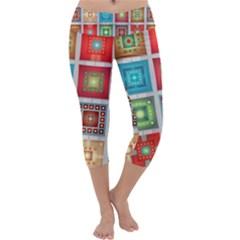 Tiles Pattern Background Colorful Capri Yoga Leggings