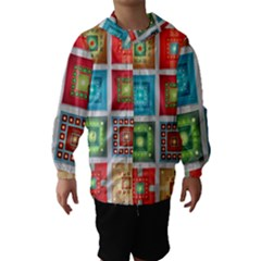 Tiles Pattern Background Colorful Hooded Wind Breaker (Kids)