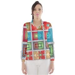 Tiles Pattern Background Colorful Wind Breaker (Women)