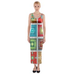 Tiles Pattern Background Colorful Fitted Maxi Dress