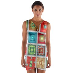 Tiles Pattern Background Colorful Wrap Front Bodycon Dress