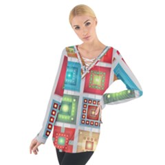 Tiles Pattern Background Colorful Women s Tie Up Tee