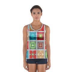 Tiles Pattern Background Colorful Women s Sport Tank Top