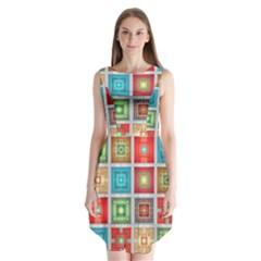 Tiles Pattern Background Colorful Sleeveless Chiffon Dress