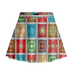 Tiles Pattern Background Colorful Mini Flare Skirt