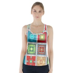 Tiles Pattern Background Colorful Racer Back Sports Top