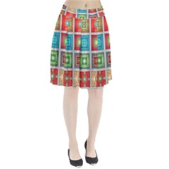 Tiles Pattern Background Colorful Pleated Skirt