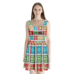 Tiles Pattern Background Colorful Split Back Mini Dress
