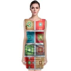 Tiles Pattern Background Colorful Sleeveless Velvet Midi Dress