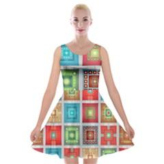 Tiles Pattern Background Colorful Velvet Skater Dress