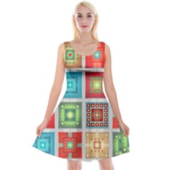 Tiles Pattern Background Colorful Reversible Velvet Sleeveless Dress