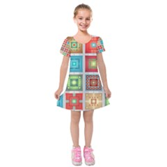 Tiles Pattern Background Colorful Kids  Short Sleeve Velvet Dress