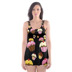 Jammy cupcakes pattern Skater Dress Swimsuit