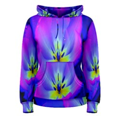 Blue And Purple Flowers Women s Pullover Hoodie