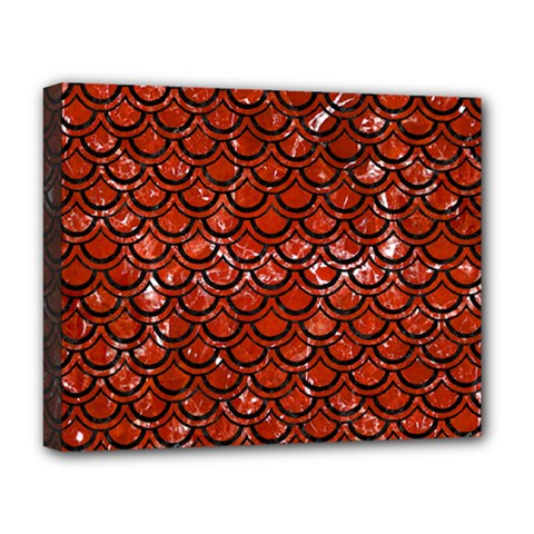 Scales2 Black Marble & Red Marble (r) Deluxe Canvas 20  X 16  (stretched)