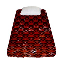 Scales2 Black Marble & Red Marble (r) Fitted Sheet (single Size)