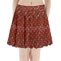 Scales2 Black Marble & Red Marble (r) Pleated Mini Skirt
