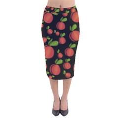 Peaches Velvet Midi Pencil Skirt