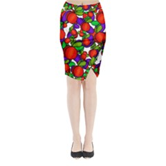 Peaches and plums Midi Wrap Pencil Skirt