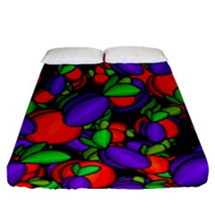 Plums And Peaches Fitted Sheet (queen Size)