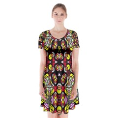 Queen Design 456 Short Sleeve V Neck Flare Dress