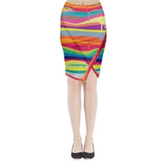 Colorfull Rainbow Midi Wrap Pencil Skirt