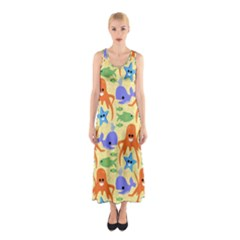 Calamari Squid Whale Sleeveless Maxi Dress