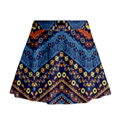 Cute Hand Drawn Ethnic Pattern Mini Flare Skirt