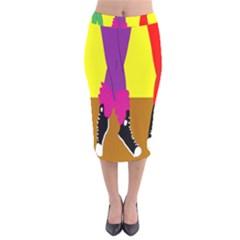 Foot Dance Velvet Midi Pencil Skirt