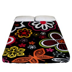 Flower Butterfly Fitted Sheet (king Size)