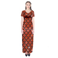 Scales1 Black Marble & Red Marble (r) Short Sleeve Maxi Dress
