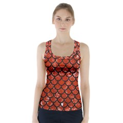Scales1 Black Marble & Red Marble (r) Racer Back Sports Top
