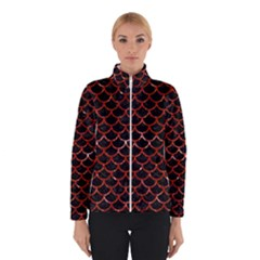 Scales1 Black Marble & Red Marble Winter Jacket