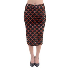 Scales1 Black Marble & Red Marble Midi Pencil Skirt