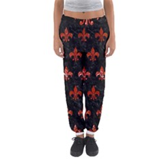Royal1 Black Marble & Red Marble (r) Women s Jogger Sweatpants