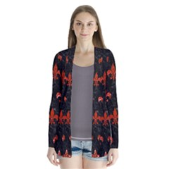 Royal1 Black Marble & Red Marble (r) Drape Collar Cardigan