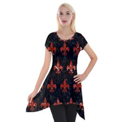 Royal1 Black Marble & Red Marble (r) Short Sleeve Side Drop Tunic