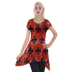 Royal1 Black Marble & Red Marble Short Sleeve Side Drop Tunic